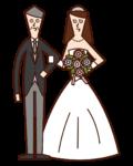 バージンロードを歩く新婦と父親のイラスト