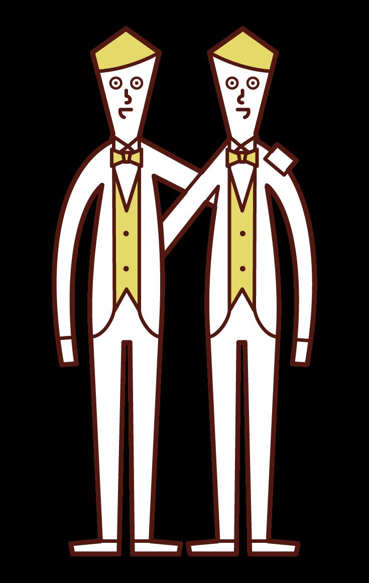 同性同士の結婚・LGBT(男性)のイラスト