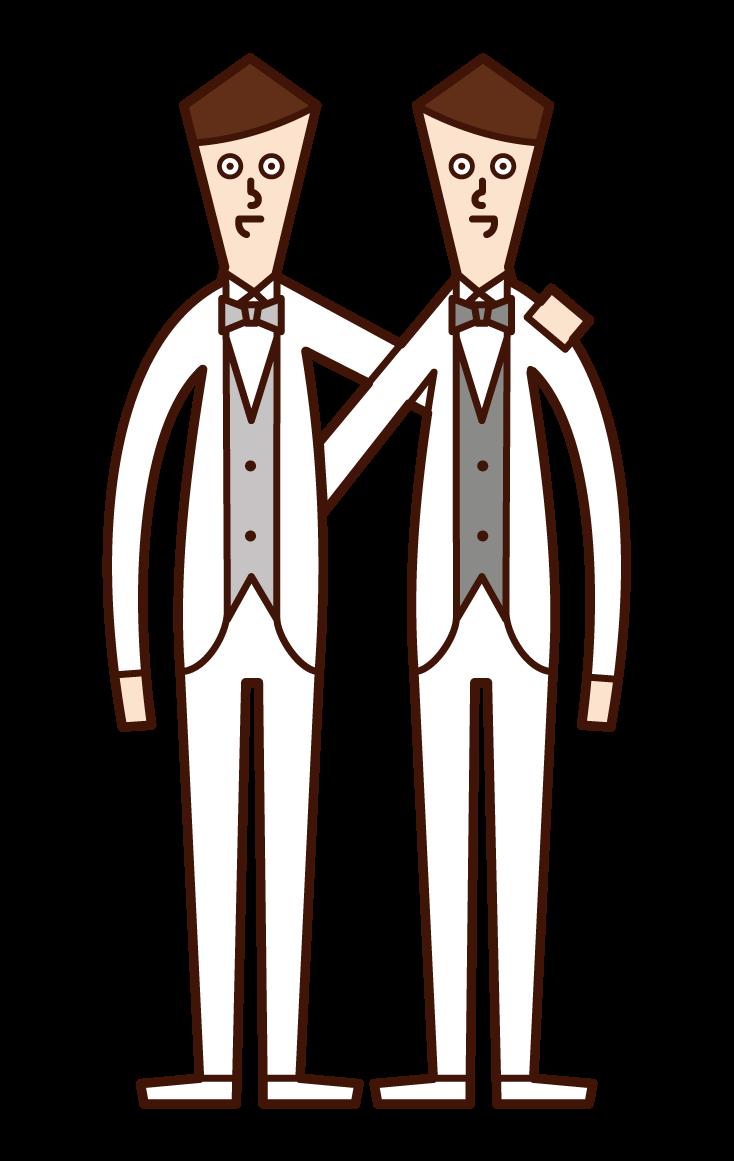 동성 결혼과 성소수자 (남성) 일러스트