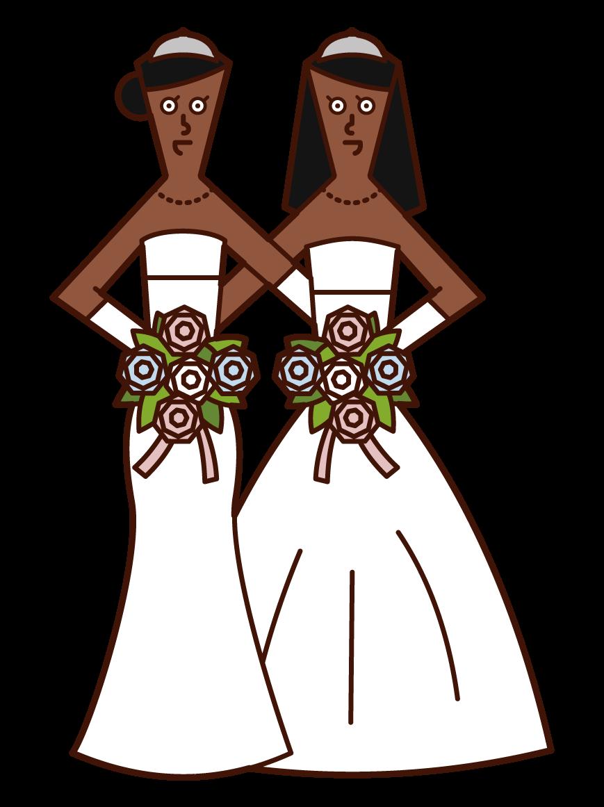 同性同士の結婚・LGBT(女性)のイラスト