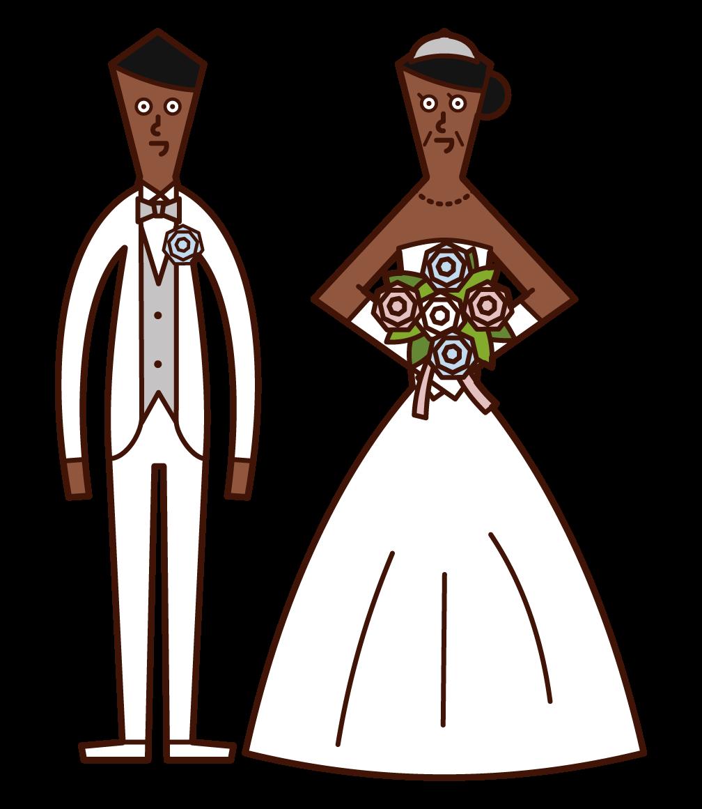年の差婚・年齢の離れた新郎新婦のイラスト