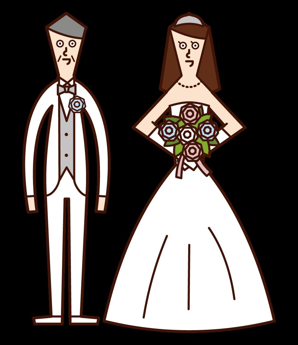 신랑과 신부의 일러스트는 결혼과 나이 의 차이입니다