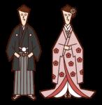 和装の新郎新婦(紋付袴・色打掛)のイラスト