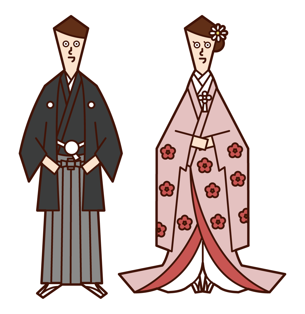 일본 신부와 신랑의 일러스트 (몽가수크와 컬러 매달려)