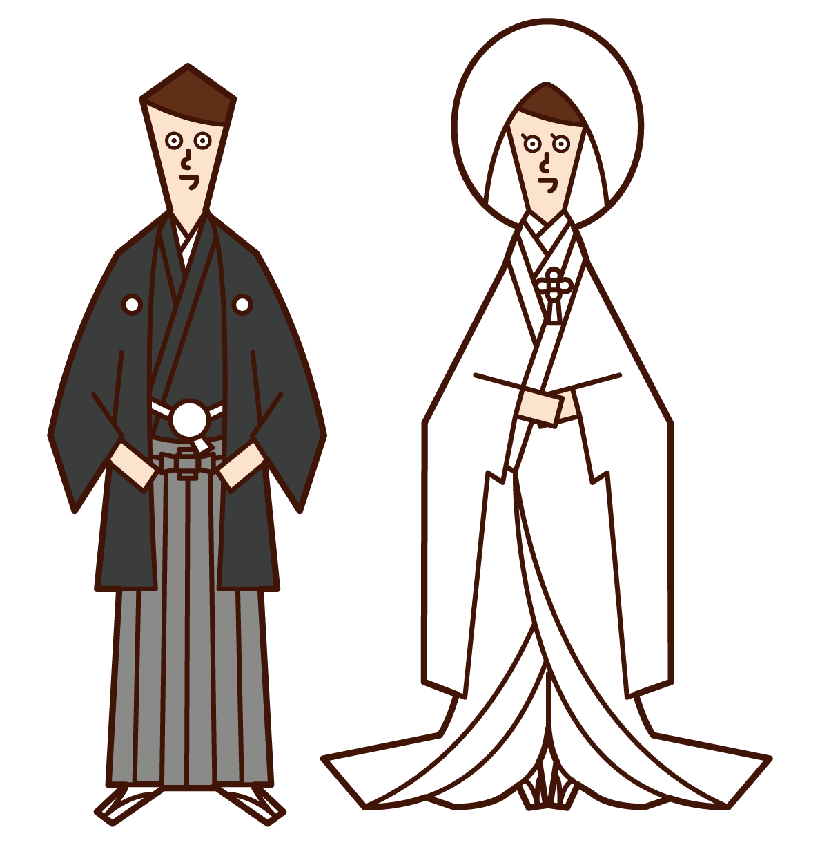 Illustration of a japanese-style bride and groom (crested hakama, solid white)
