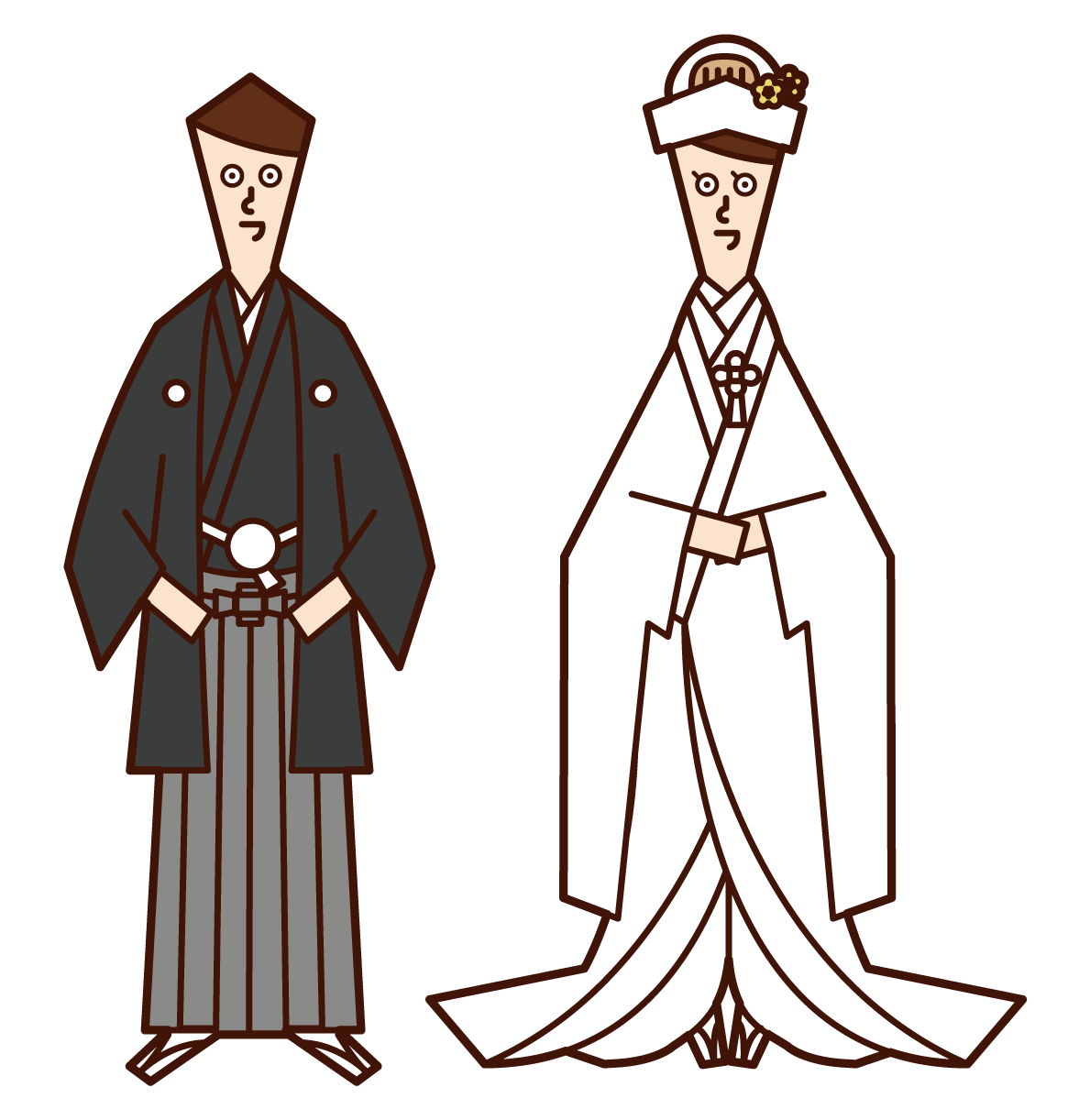 Illustration of bride and groom (crested hakama and pure white)
