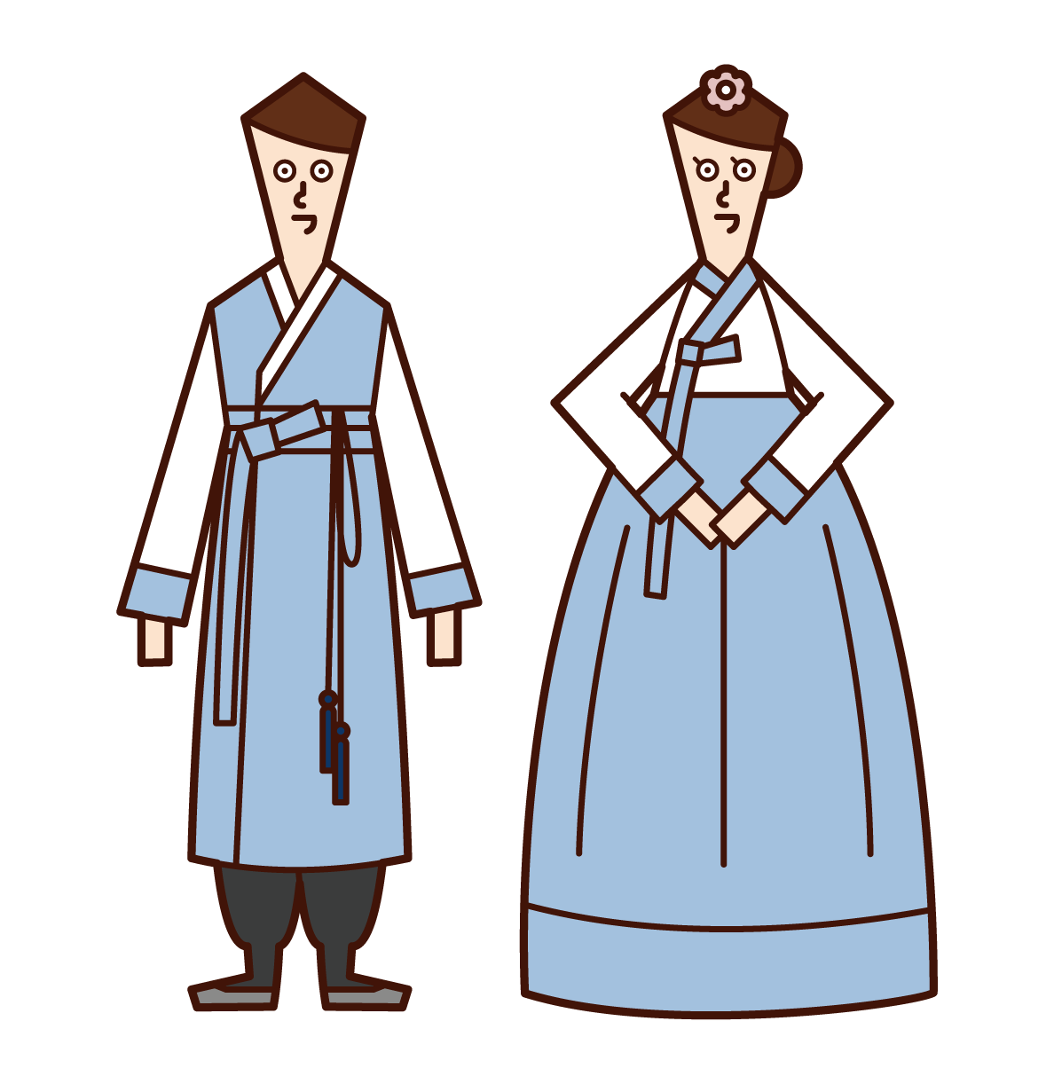 Illustration of a bride and groom (Chimachogori) in Hanbo