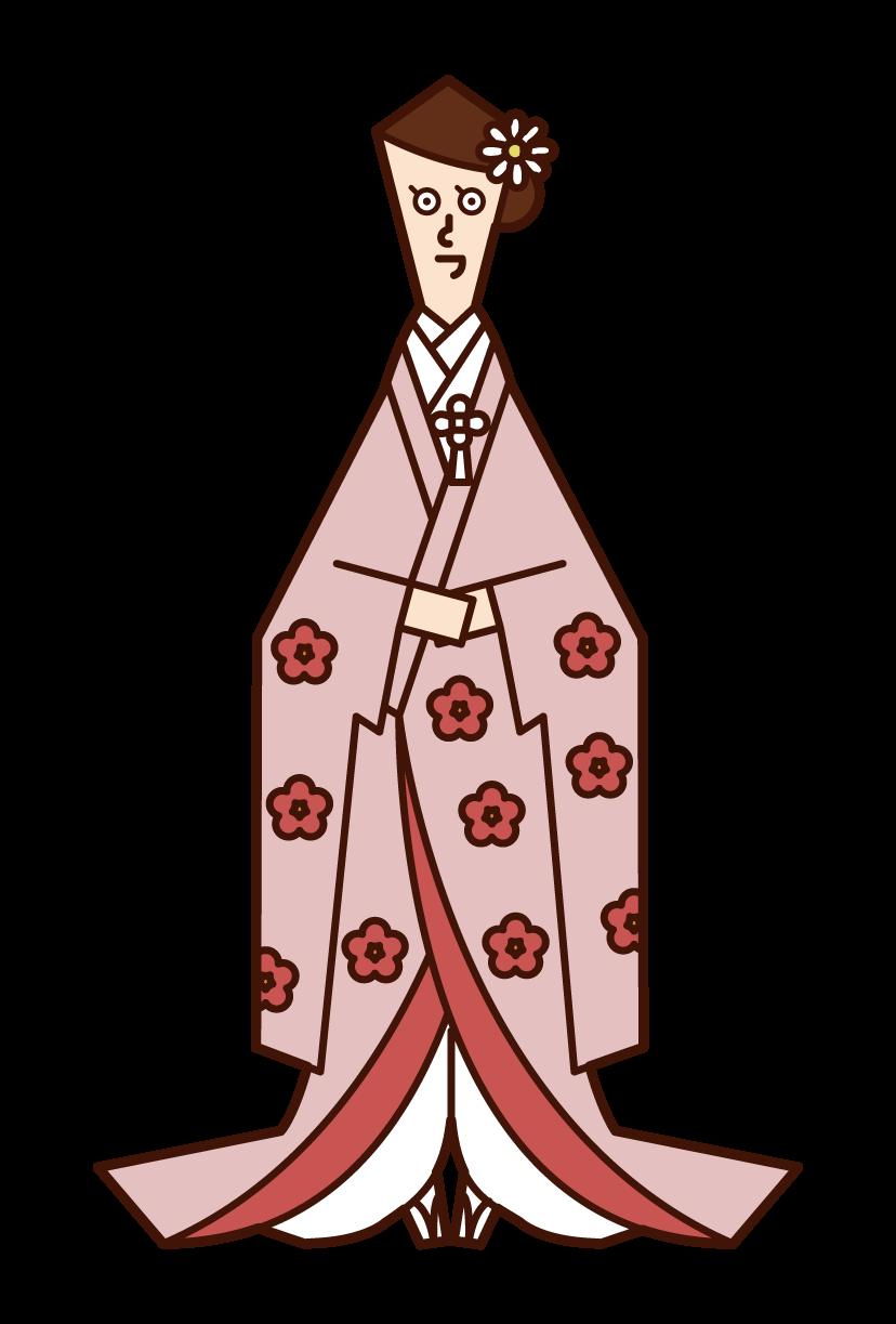韓服の新郎新婦(チマチョゴリ)のイラスト