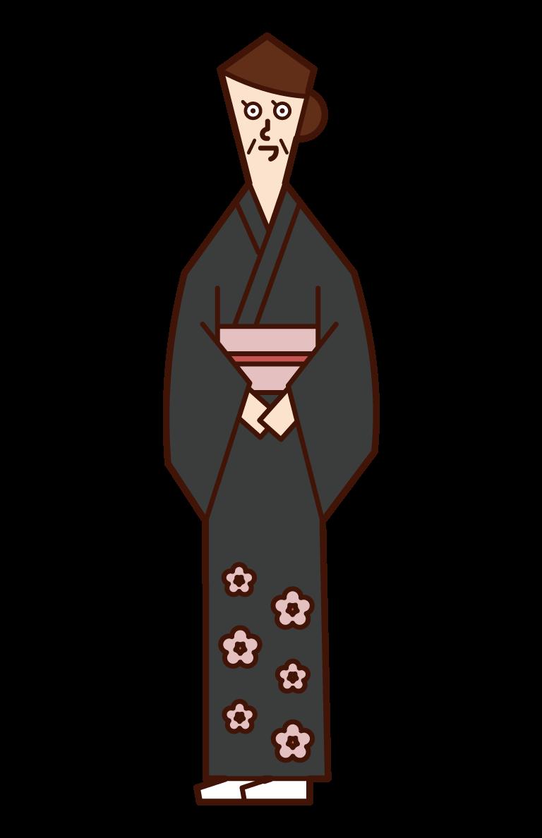 留袖を着た人(女性)のイラスト