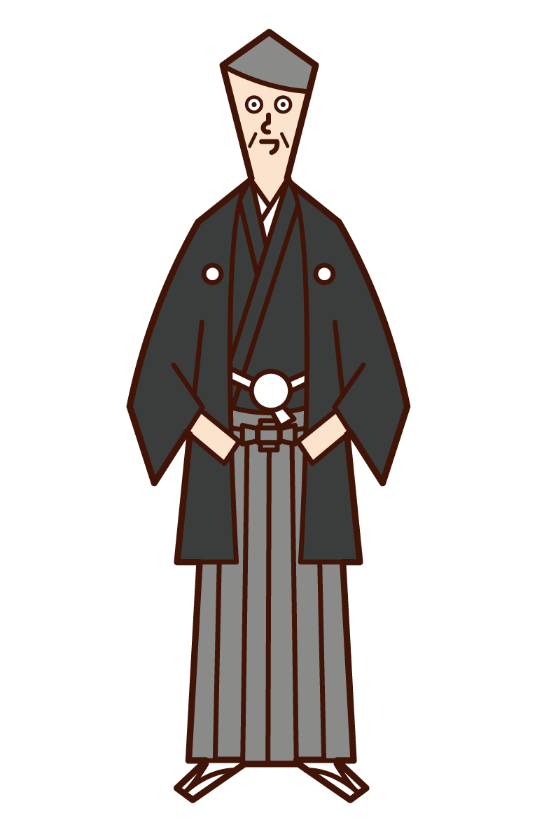 Illustration of a man in Japanese dress (crested hakama)