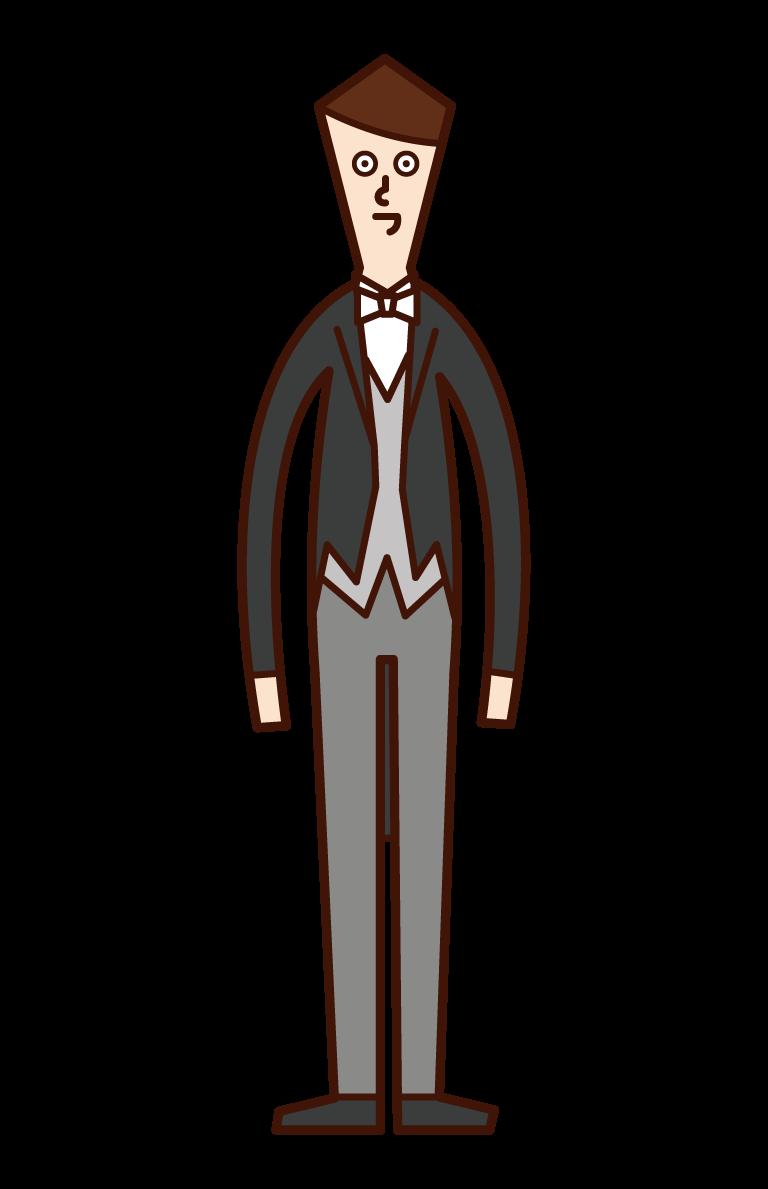 正礼装・モーニングコートを着た人(男性)のイラスト