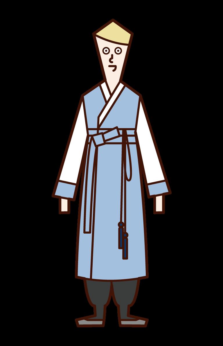 韓服を着た男性(チマチョゴリ)のイラスト