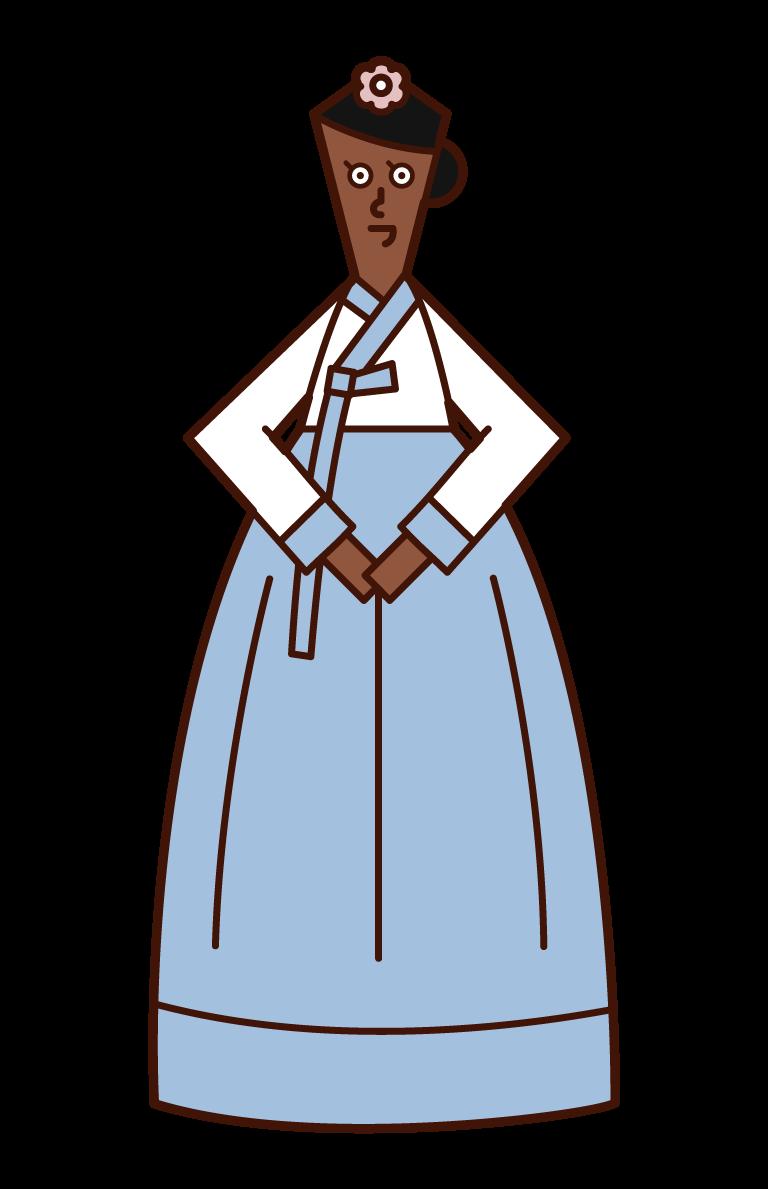 韓服を着た女性(チマチョゴリ)のイラスト