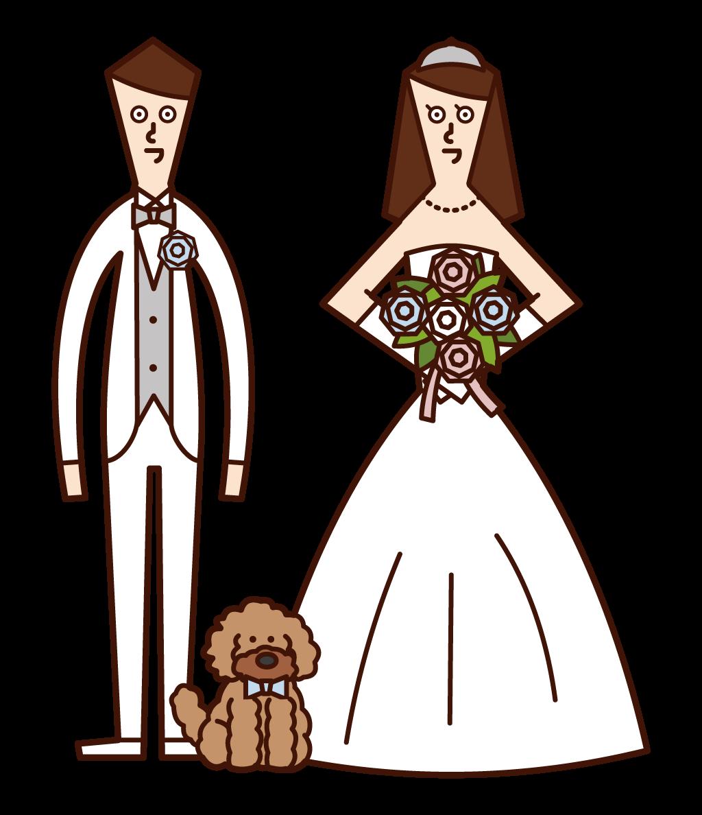 신부와 신랑과 강아지의 그림