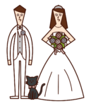 新郎新婦と猫のイラスト