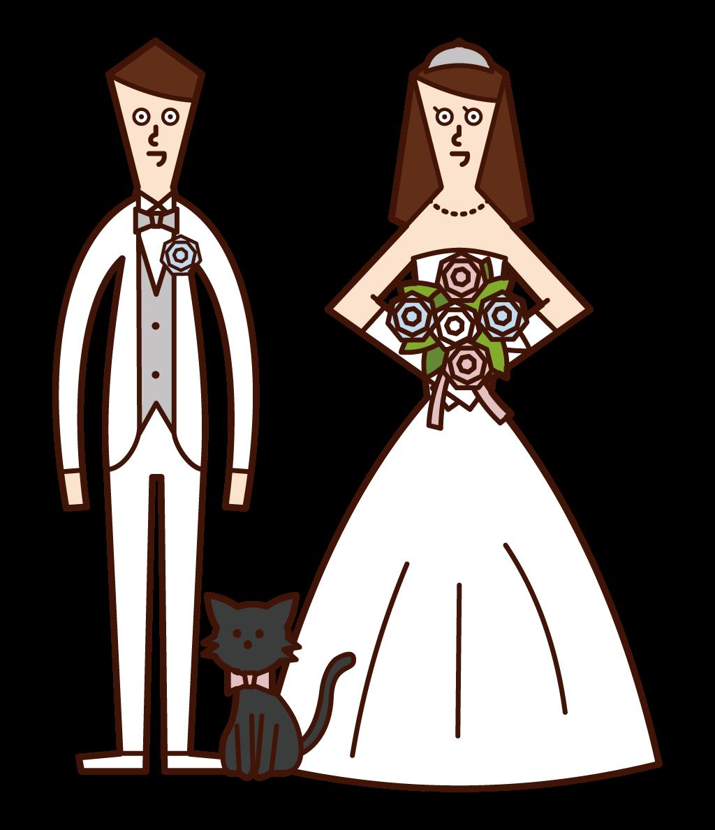 신부와 신랑과 고양이의 그림