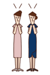 Illustration of friends (woman) blessing marriage