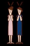 結婚を祝福する友人達(女性)のイラスト