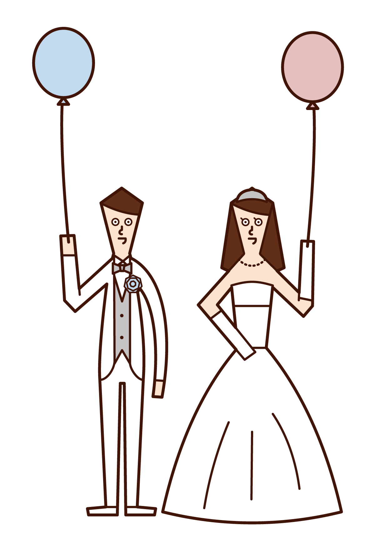 Illustration of bride and groom releasing balloons
