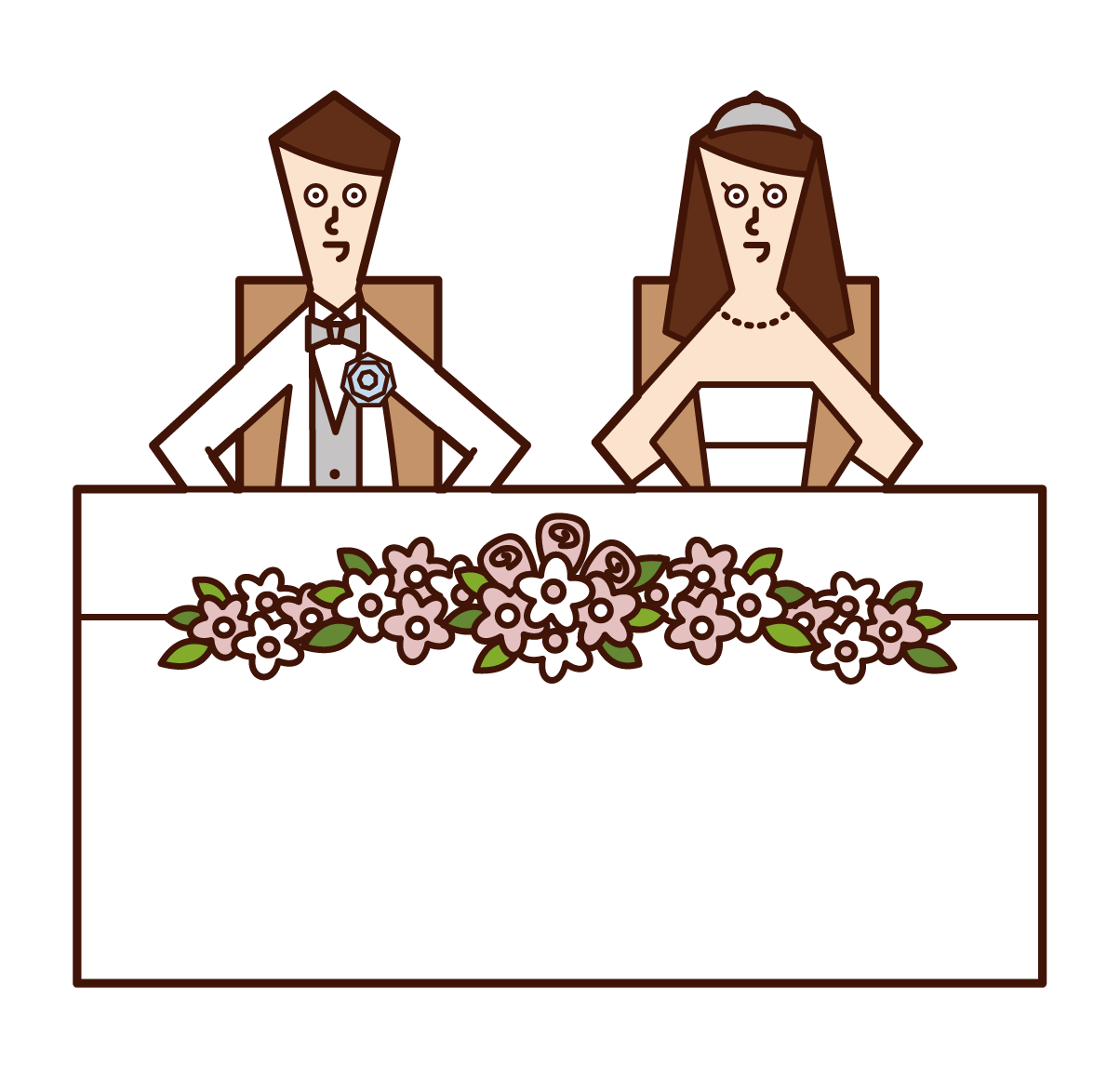 Illustration of bride and groom sitting on takasago
