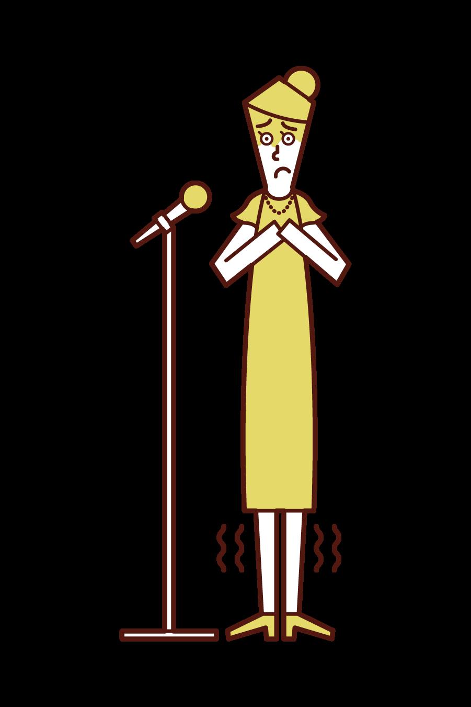 スピーチで緊張する人(女性)のイラスト
