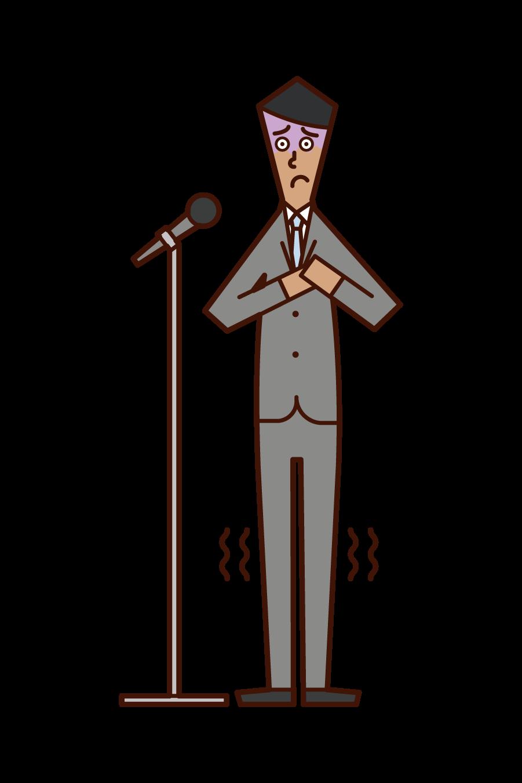 スピーチで緊張する人(男性)のイラスト
