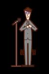 演講中緊張的人(男性)的插圖