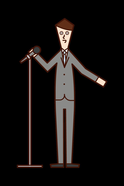 演講者(男性)的插圖