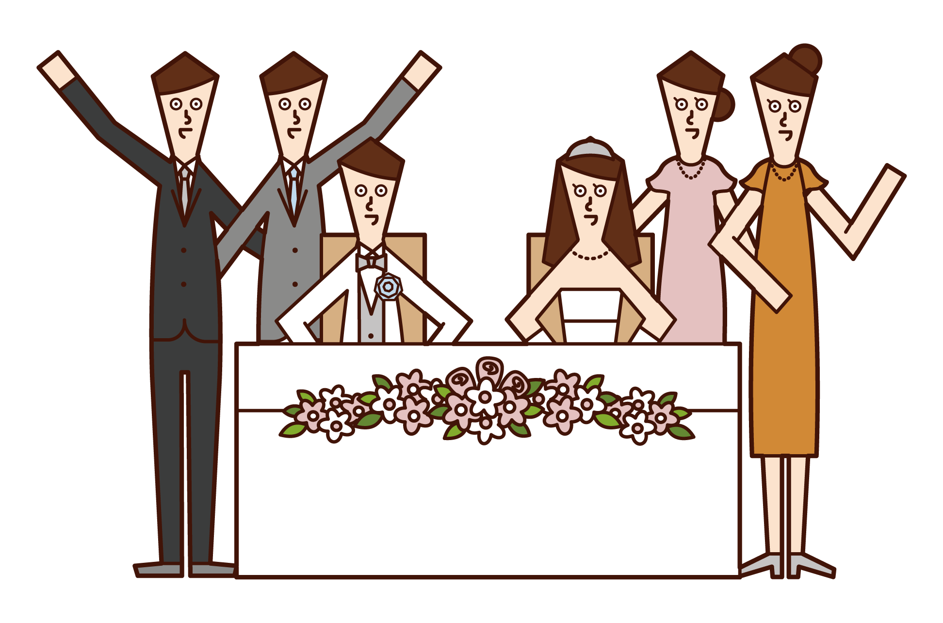 Illustration of friends taking pictures with bride and groom