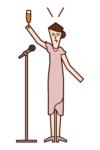 Illustration of a woman who takes the tone of a toast