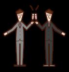 乾杯する人たち(男性)のイラスト