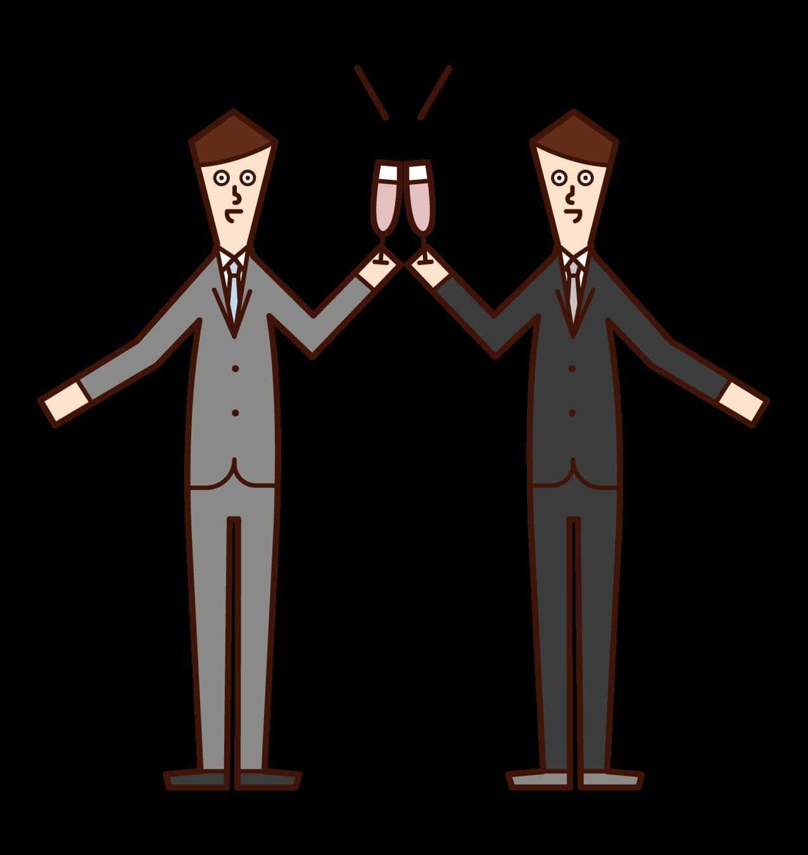 Illustration of people (men) toasting