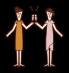 乾杯する人たち(女性)のイラスト