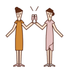 Illustration of people (women) toasting