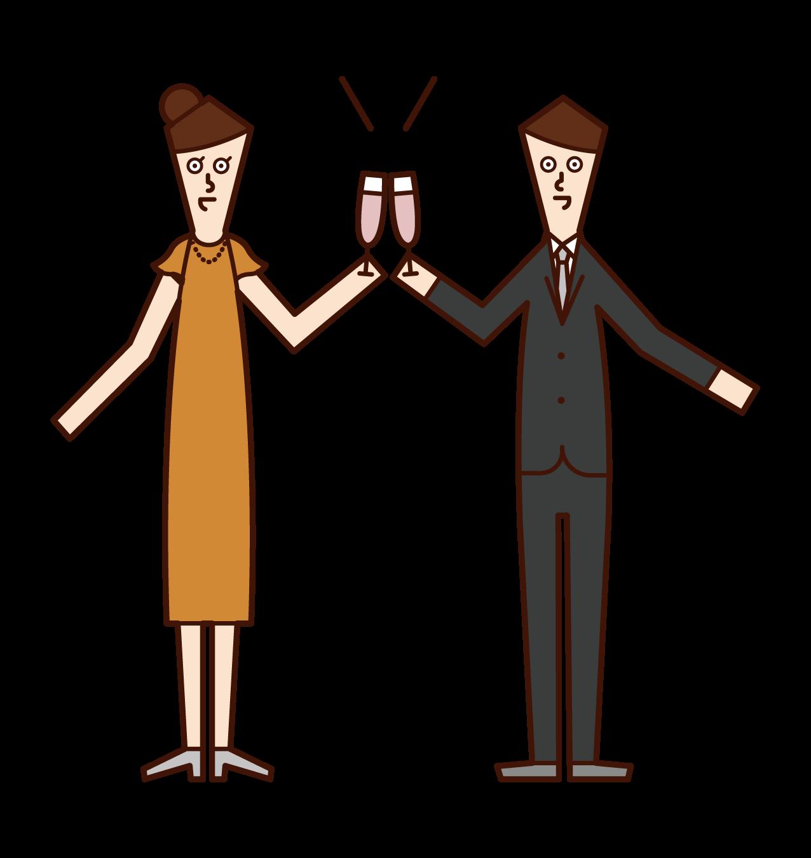 Illustrations of people toasting