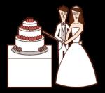 ケーキカットをする新郎新婦のイラスト