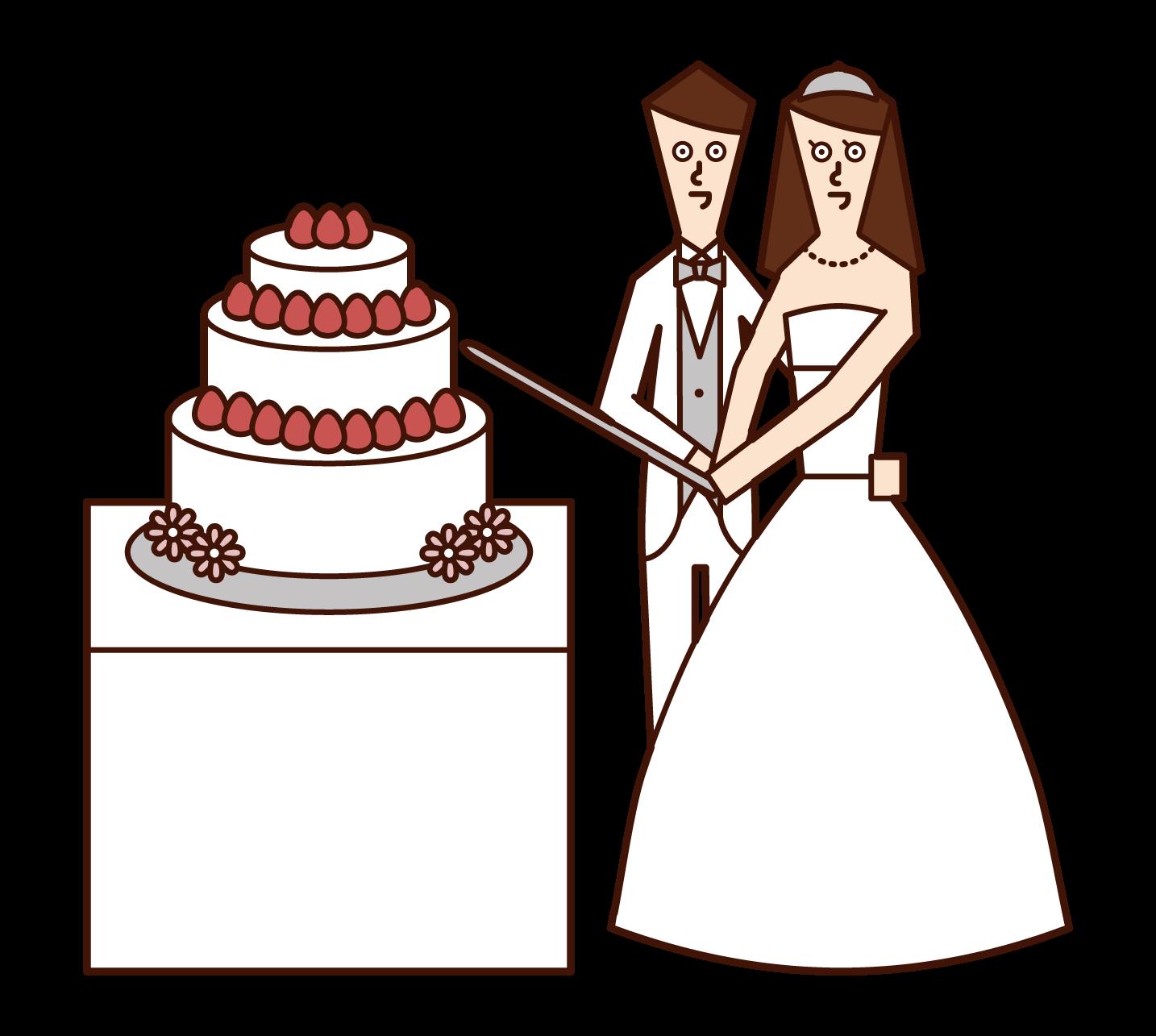新娘和新郎切蛋糕的插圖