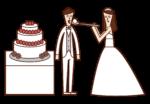 新娘和新郎做第一個字節的插圖