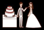 新娘和新郎吃婚禮蛋糕的插圖