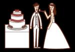 ウエディングケーキを食べる新郎新婦のイラスト