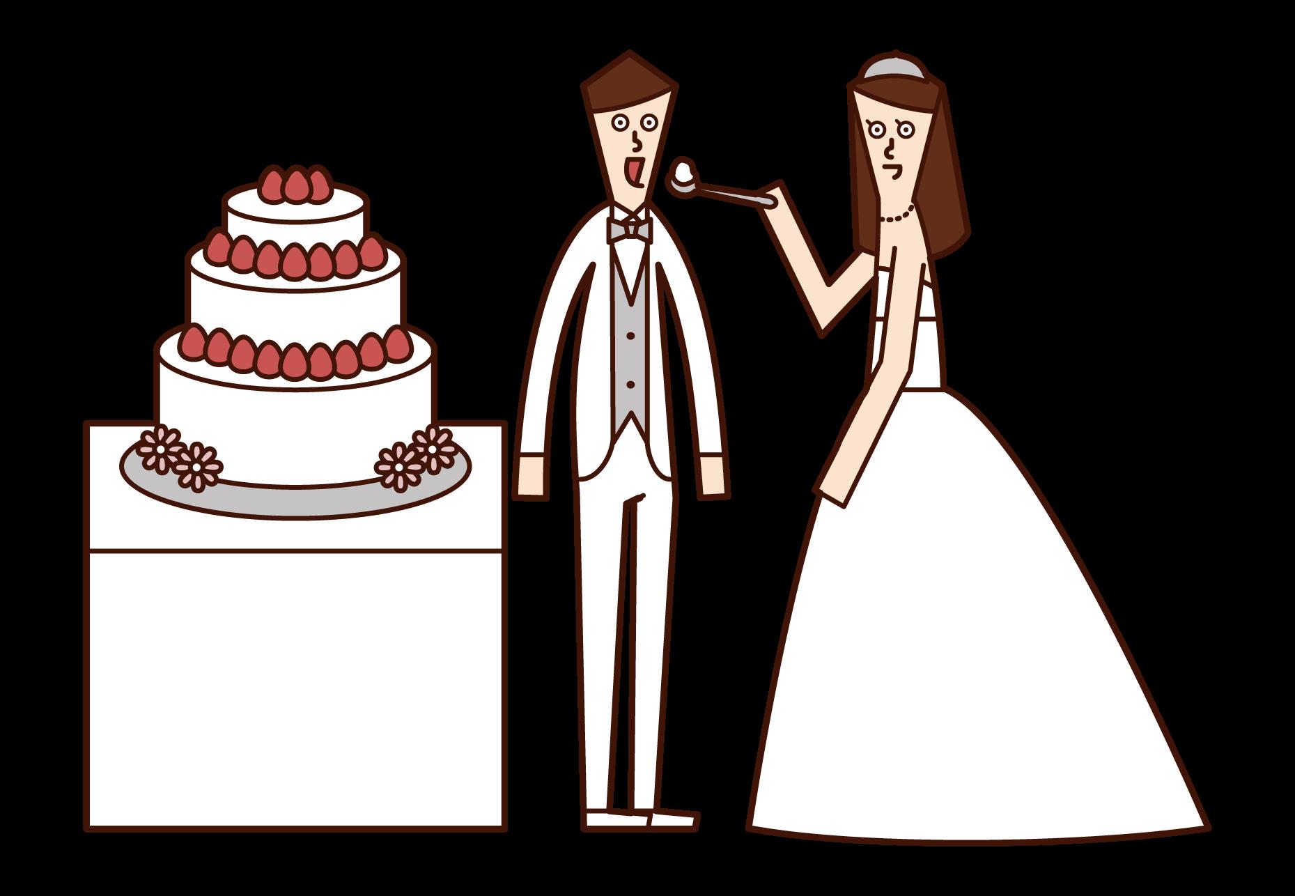 신부와 신랑이 웨딩 케이크를 먹는 일러스트