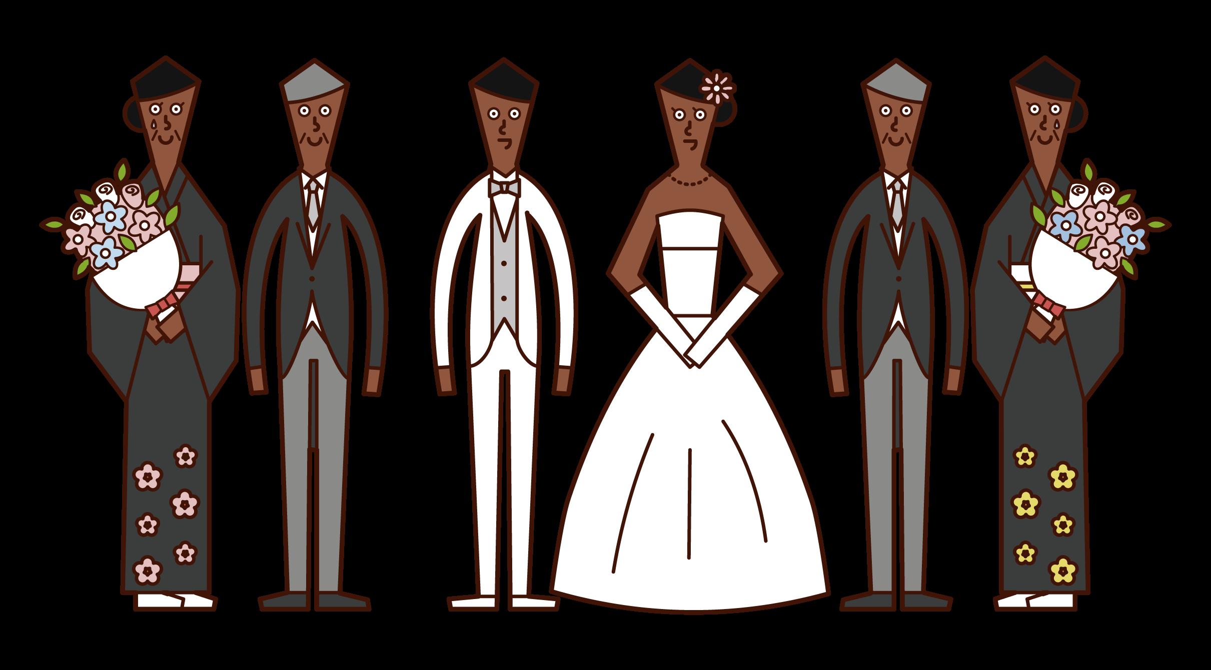 新郎新婦と両親のイラスト
