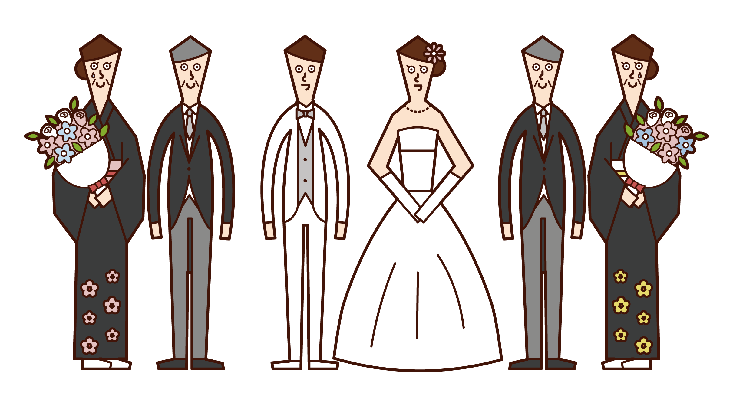 Illustration of bride and groom and parents
