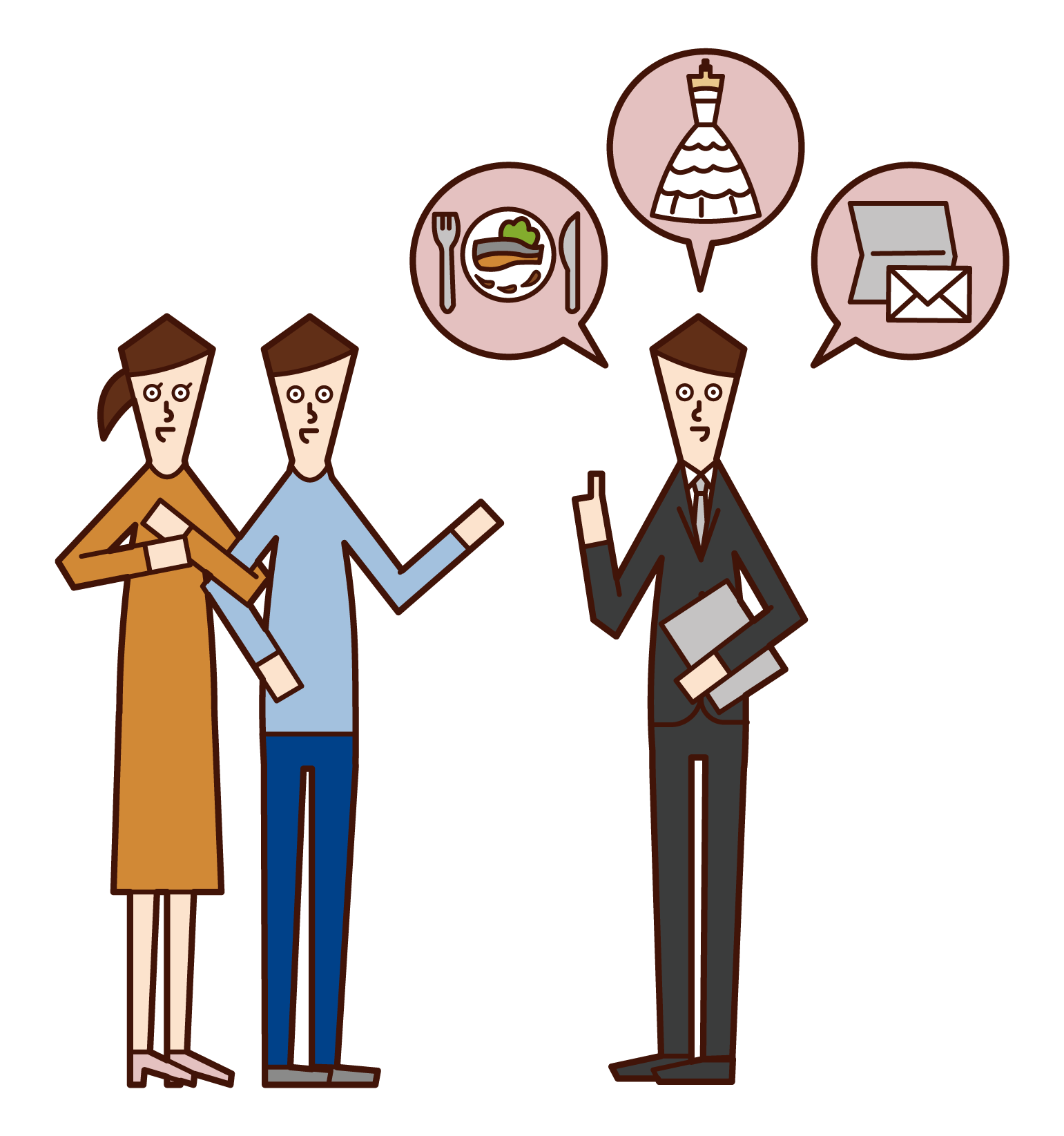 Illustration of couple consulting with wedding planner (male)