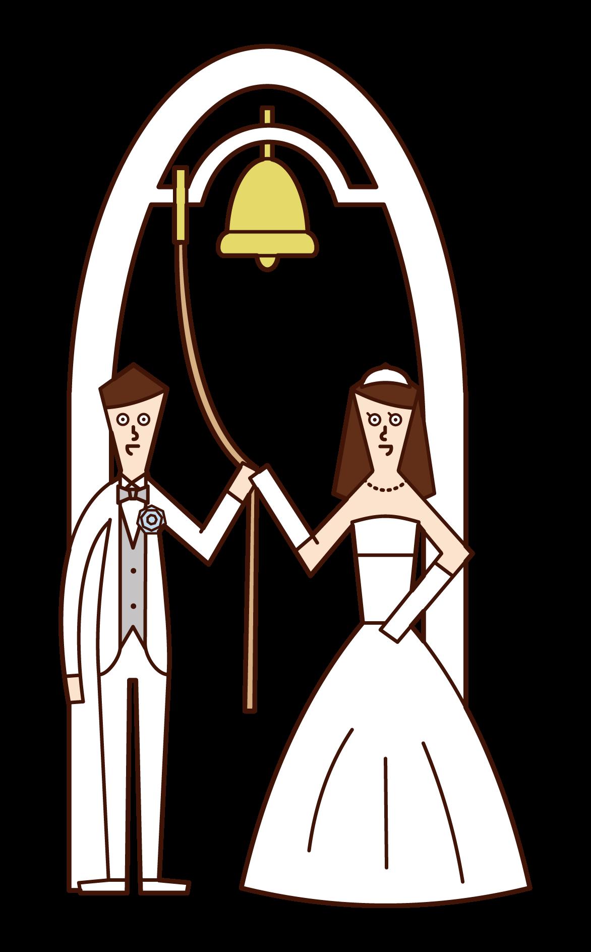 신부와 신랑이 웨딩 벨을 울리는 일러스트