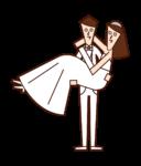 新婦をお姫様抱っこする新郎のイラスト