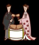 新娘和新郎打開鏡子的插圖