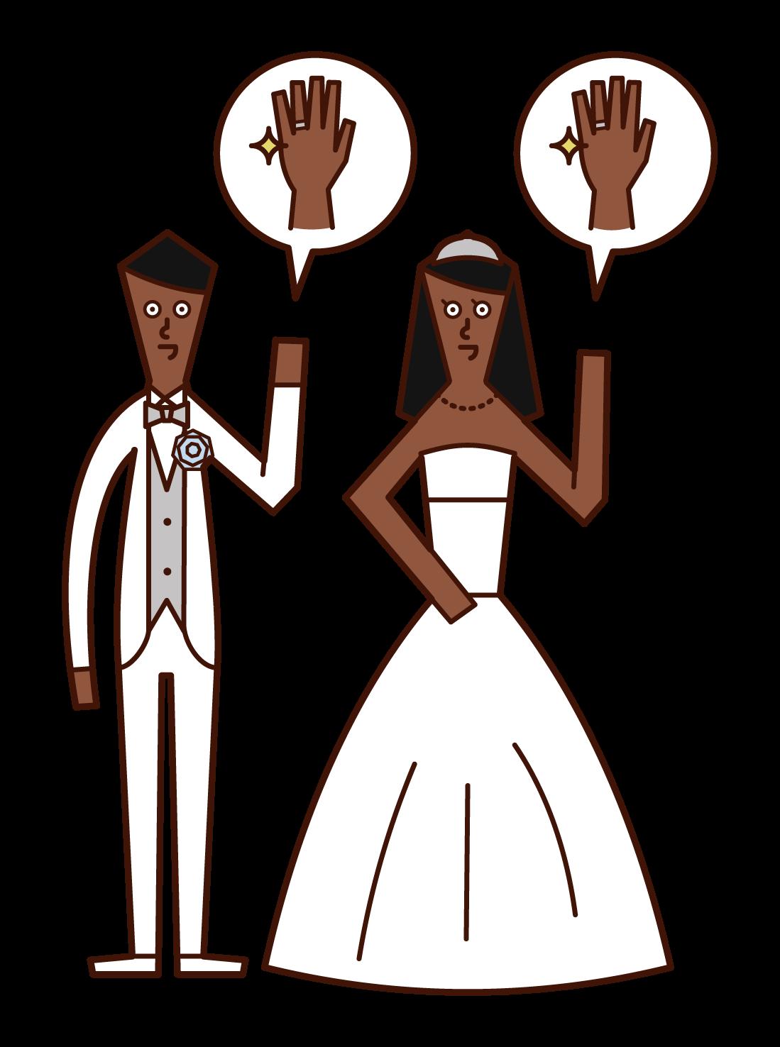 結婚指輪を披露する新郎新婦のイラスト