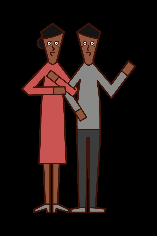 仲の良い中年夫婦のイラスト