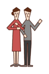 Illustration of a middle-elderly couple who are good friends